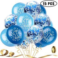 15 pçs 12 Polegada confetes balões látex rosa azul balões de aniversário 1 anos de idade aniversário casamento festa de duche do bebê decoração