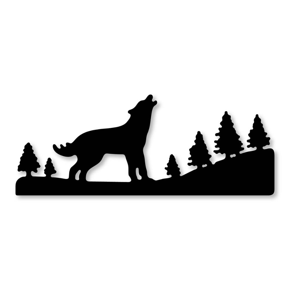 """13/"""" x 14/"""" Howling Wolf Full Moon and Forest Stencil S DIY Arts and Craft Template"""