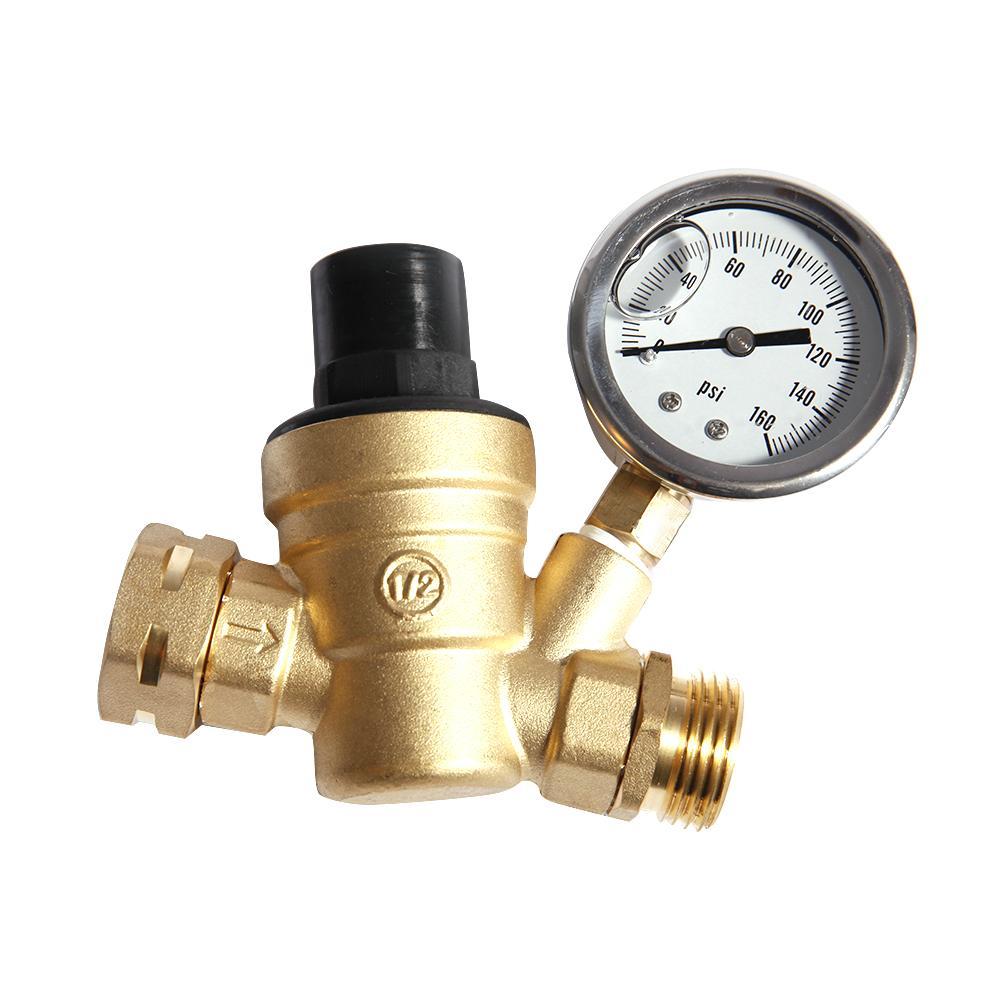 160psi Brass Rv Water Pressure Regulator W Steel Gauge Adjust 3 4 Nh Thread