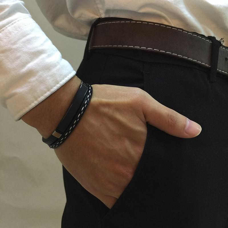 Bracelets en cuir véritable barre en acier 3