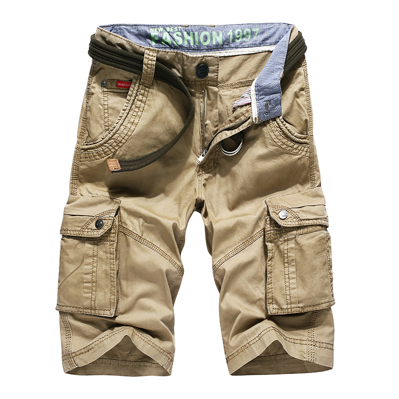 Men's Summer Cargo Shorts Casual Cotton Side Pocket Knee Length Army Green Khaki Black Military Urban Clothes Male Bermuda Cargo