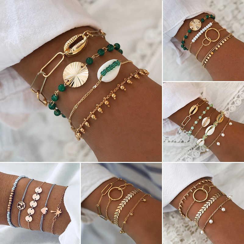 Details about  /5Pcs Fashion Women Boho Map Leaves Heart Shell Tassel Beads Chain Bracelet Set