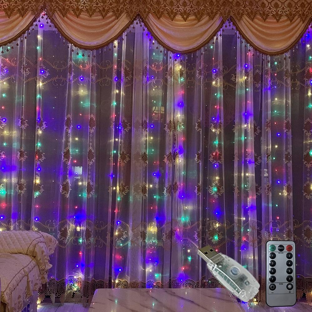 Rideau lumineux avec télécommande, alimenté par USB, 3M, LED, guirlande lumineuse féerique de noël, LED, décoration de fête, jardin, maison, mariage