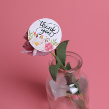 12Pcs/1Set Thank you Heart Round Kraft Paper Seal Sticker For Handmade Products Baking Products Sealing Sticker Label 120 pcs lot cute long hand made with love kraft paper seal sticker for handmade products baking products sealing sticker label