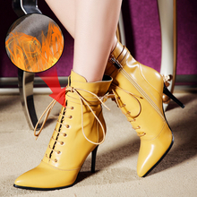 цена на Plus Size 34-43 New Genuine Leather Punk Women Ankle Boots Lace Up Pointed Toe High Heel Chelsea Boot Pumps Buckle Fashion Shoes