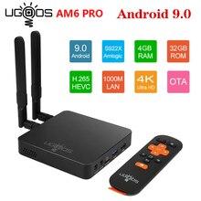 UGOOS TV Box AM6 Pro, Android 9,0, Smart TV Box, DDR4, 2GB, 16GB, 4GB, 32GB, 2,4G, wi fi Dual 5G, 1000M, LAN, BT, reproductor multimedia 4K HD