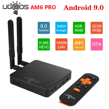 Ugoos am6 pro amlogic s922x smart android 9.0 caixa de tv ddr4 2gb 16gb 4gb 32gb 2.4g 5g duplo wifi 1000m lan bt 4k hd media player