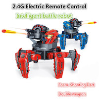 NEW 2.4G Electric Remote Control Robot Six legged Spider Robot DIY Shooting Game Foam Shooting Dart Double weapon Toy Gift