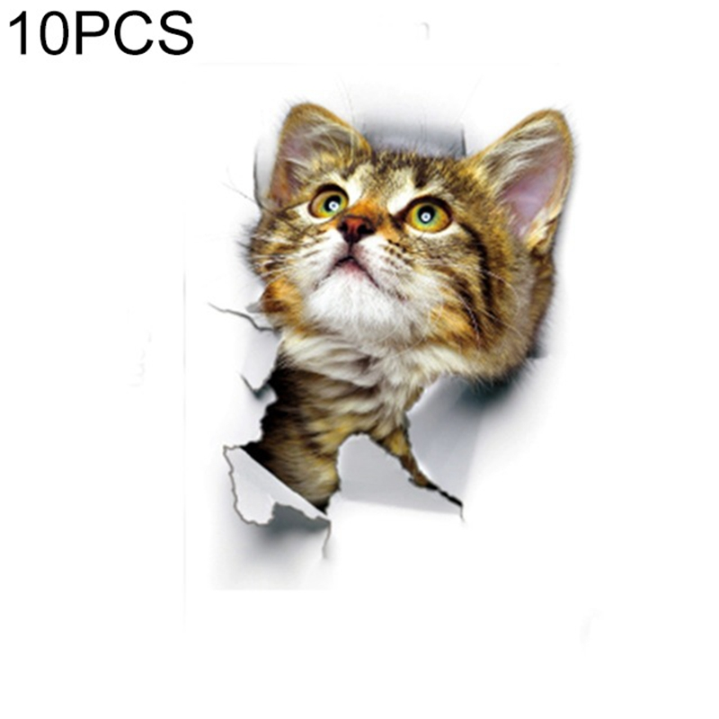 10 PCS Removable Waterproof Cartoon 3 D Cat Pattern Wall Sticker Bathroom Toilet Sticker