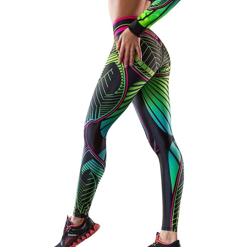 CHRLEISURE Sexy Printing Leggings Woman High Waist Elasticity Slim Workout Polyester Pants Feminine  Hip Leggings