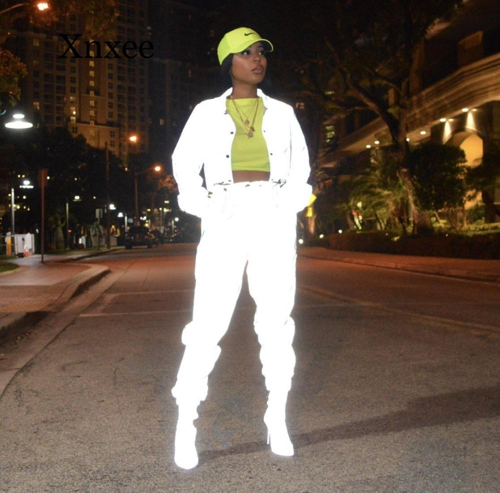Women Reflective Two Piece Set Tracksuit Sexy Crop Top And Pants Sweat Suits Fluorescent Clothing 2 Piece Club Outfits Jogger
