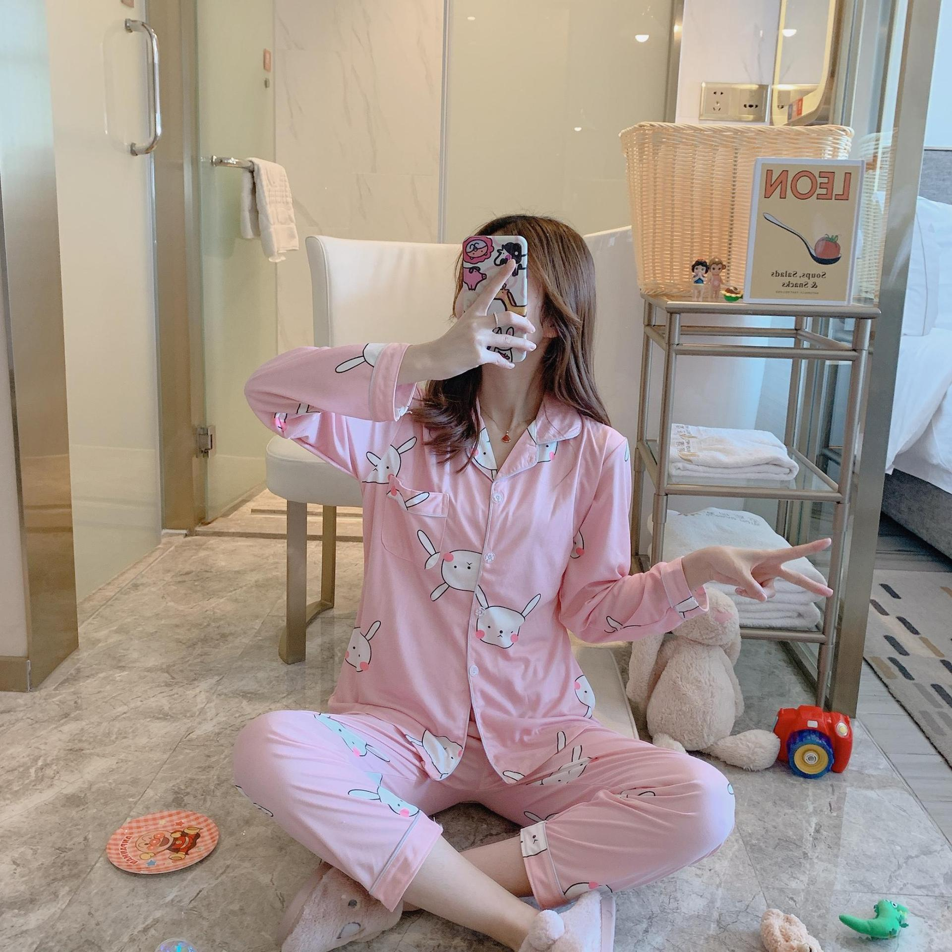 Spring And Autumn New Style Korean-style Fashion Cardigan Women's Tracksuit Pajamas Round Face Rabbit Casual Cartoon Sweet Qmilc