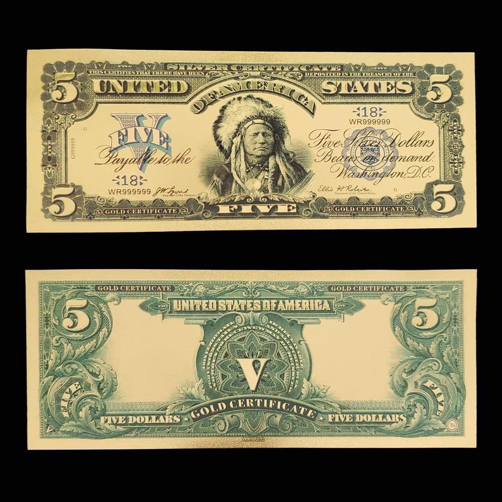 Альбом для банкнот RH 10 шт./лот 5 из США, банкноты из золота 100 банкнот, покрытые 24-каратным золотом, для весёлого подарка и коллекции