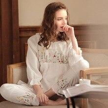 2019 outono conjunto de pijama de algodão vintage feminino bordado manga longa pijama femme branco noite wear casa terno lounge conjunto