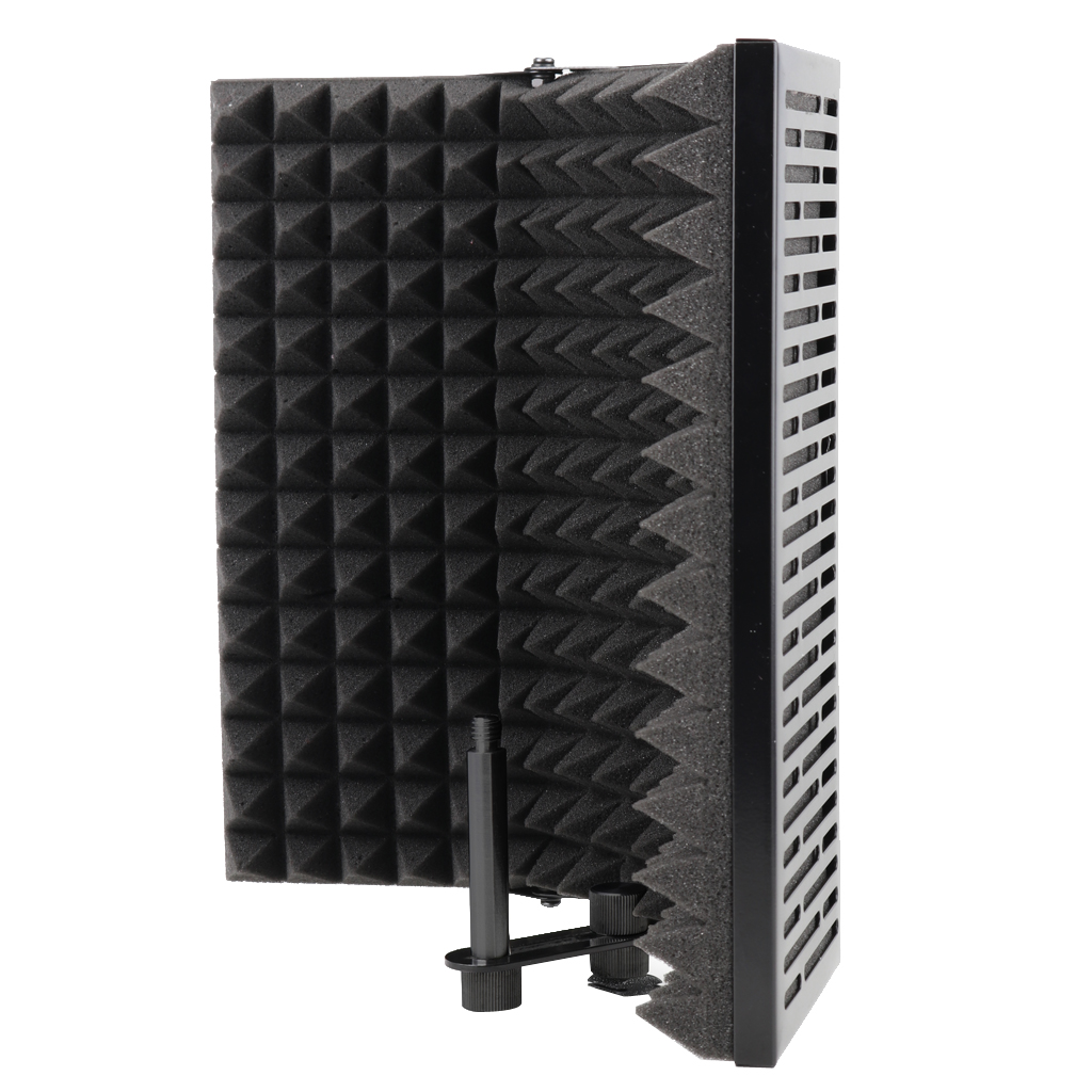 Foldable Microphone Acoustic Isolation Shield With Stand, Acoustic Foams Panel Studio Recording Microphone Accessory
