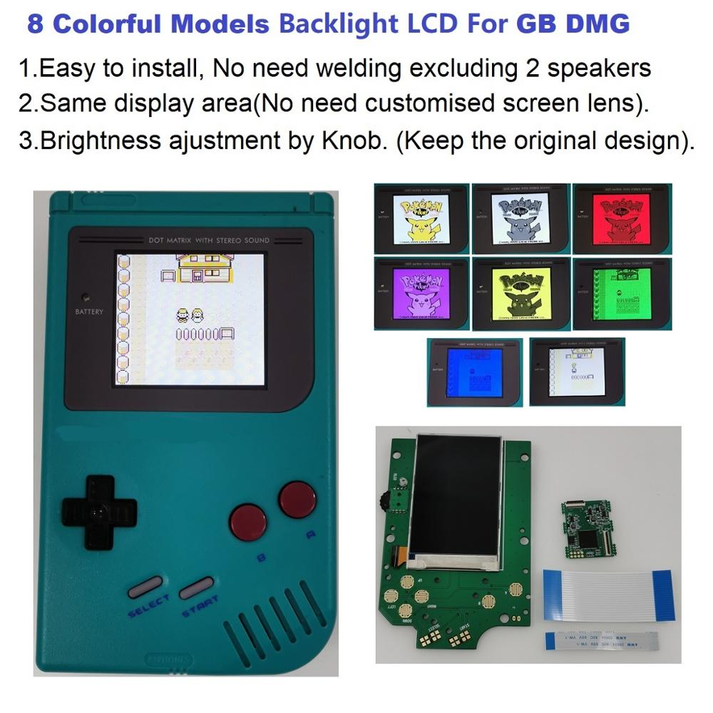 Lcd-Kit Models Gameboy Console-Gb DMG Backlit for Dmg-Gb IPS 8 Colorful High-Brightness title=
