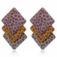 2019 Oorbellen Brinco Spotted Diamond Block Multilayer Acrylic Stitching Earrings Euro-american Fashion Ear Nail Cross-border(China)