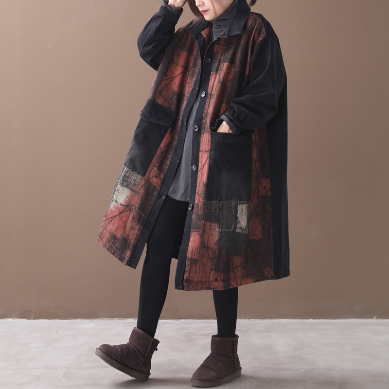 Winter   Trench   Women Large size Long Warm Coat 2019 New Female Cardigan Tops Loose Print Vintage All-match overcoat   Trench