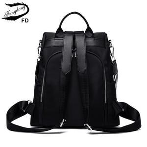Image 5 - Fengdong women black flower vintage backpack anti theft small travel backpack for girls waterproof oxford floral school backpack