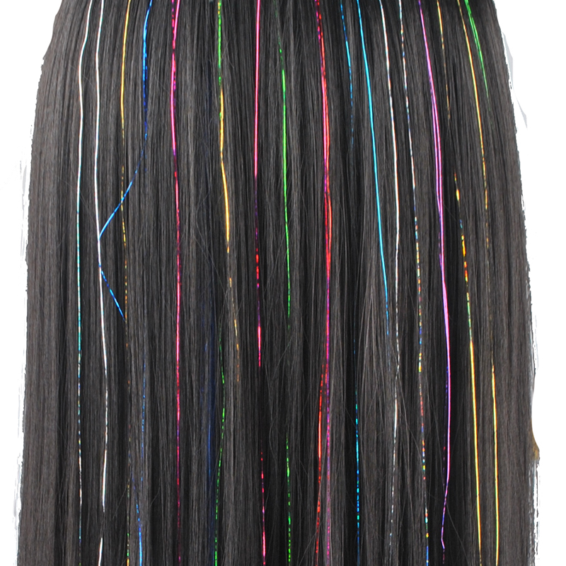16 Colors 90cm Party Holographic hair accessories Glitter Hair Tinsel Sparkle Extensions 150Strands Bling twinkle hair extension 4