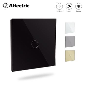 Przełączniki Atlectric przełącznik czujnikowy przełącznik dotykowy montowany na ścianę przełącznik szklany Panel Smart Home Crystal LED podświetlenie 1 2 3 przełączniki dotykowe gang tanie i dobre opinie CN (pochodzenie) touch switch ROHS 10 years Dotykowy włącznik wyłącznik 110-250V WHITE BLACK GOLD GARY Light Switch