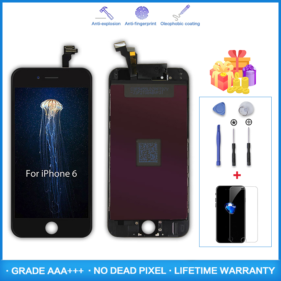 AAA+++ LCD Display For iPhone 6 6S Plus Touch Screen Replacement Digitizer Assembly For iPhone 5 5S No Dead Pixel Tempered Glass image