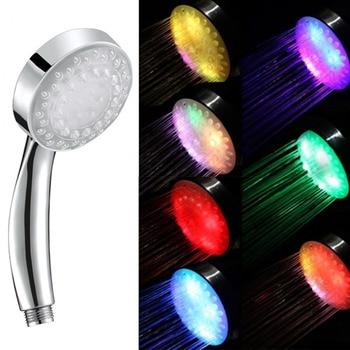 цена на Romantic Automatic Magic 7 Color 5 LED Lights Handing Rainfall Shower Head Single Round Head RC-9816 for Water Bath Bathroom