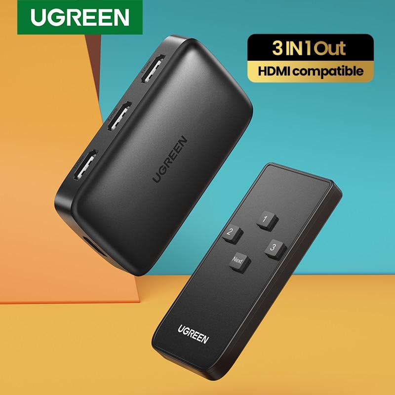 Przełącznik kompatybilny z Ugreen HDMI dla Xiaomi Mi Box przełącznik 3 w 1 4K dla przełącznika PS4 HDMI-kompatybilny z kontrolerem