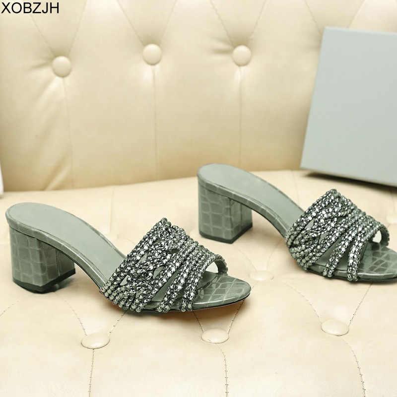 Zapatos de mujer de marca GB sandalias de lujo de verano de G 2019 sandalias de diamantes de imitación de diseñador negro zapatos de suela de cuero genuino zapatos de mujer