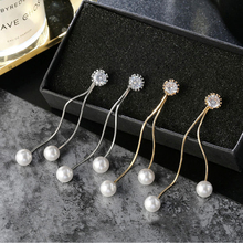 Fashion Long Earring Pearl Charm Pendent Snake Chain Elegant Tassel Drop Earring Bridal Women Girl Wedding Jewelry Gift