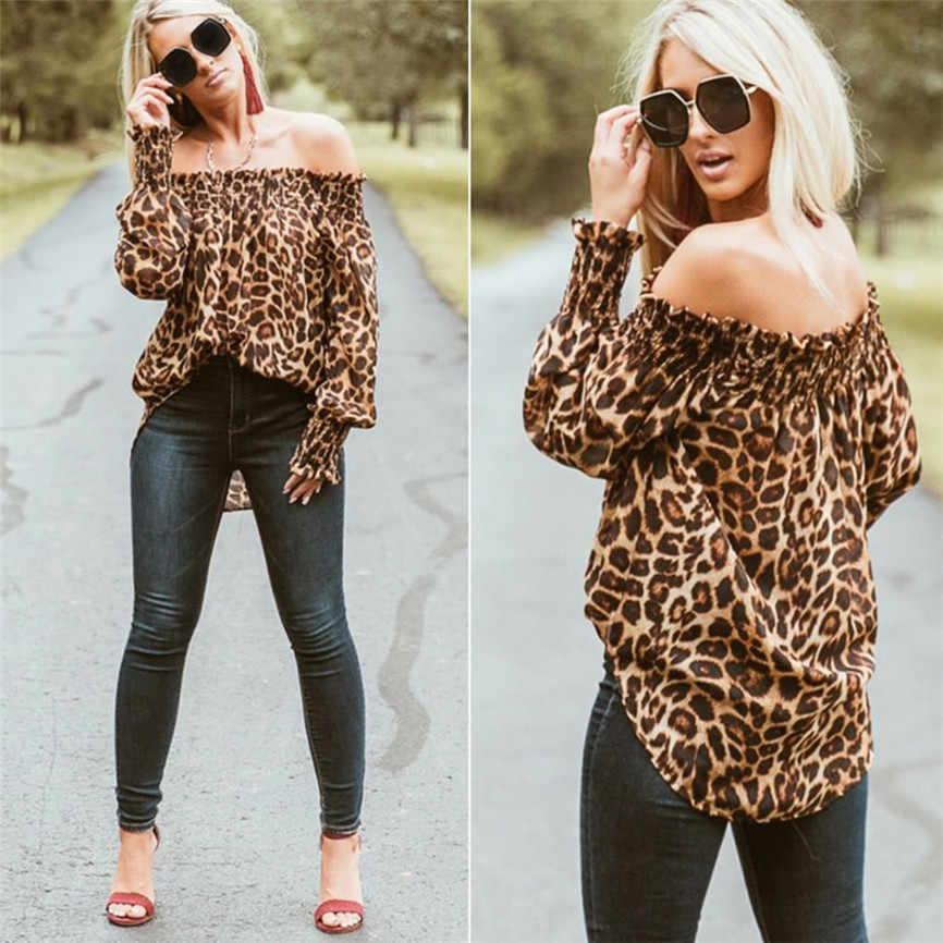 Женские Блузки высокого качества Женская одежда Леопардовый принт с открытыми плечами Повседневный Топ женские топы плюс размер блузка