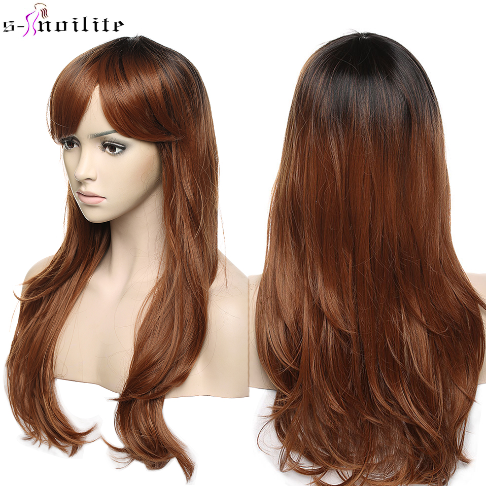 SNOILITE Women Long Loose Wave Cosplay Wig Brown Heat Resistant Fiber Natural Synthetic Hair Head Wig Ombre Party For Women
