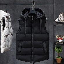 Męskie zimowe bezrękawnik mężczyzn dół kamizelka męska ciepłe grube płaszcze z kapturem mężczyzna bawełny wyściełane pracy kamizelka kamizelka Homme kamizelka 7XL