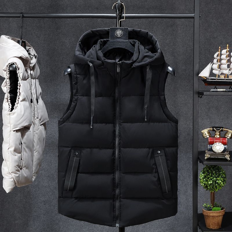 Mens Winter Sleeveless Jacket Men Down Vest Men's Warm Thick Hooded Coats Male Cotton-Padded Work Waistcoat Gilet Homme Vest 7XL