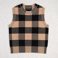 2020 Spring Autumn Fashion women's brand new high quality 47%wool plaid Sweater vest C013