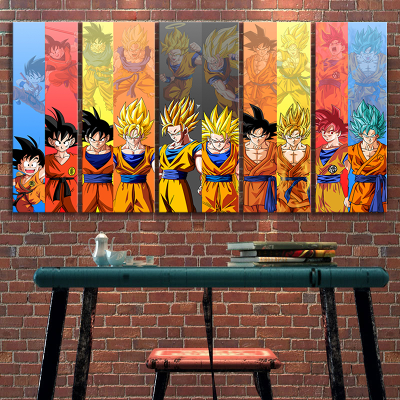 5pcs Dragon Ball Z Anime Poster Goku Pictures Canvas Wall Art Decorative Paintings for Bedroom Decor 1