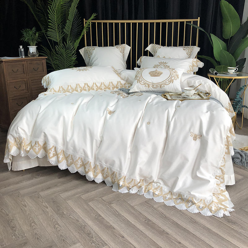 White Grey Duvet Cover Set With Gold Lace Luxury 800TC Egyptian Cotton Embroidery Bedding Set Bed Sheet Set Pillowcase Gift Box