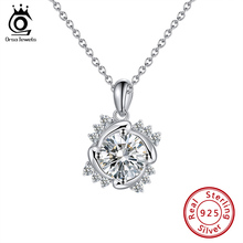 ORSA JEWELS Genuine 925 Sterling Silver Pendant Necklace Women Love Flower Pendant + 45cm Chain Best Gifts for Girlfriend SN237 jewelrypalace luxury pear cut 7 4ct created emerald solid 925 sterling silver pendant necklace 45cm chain for women 2018 hot