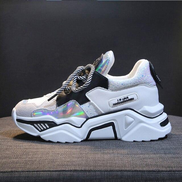TKN امرأة منصة حذاء كاجوال السيدات شقة مكتنزة أحذية رياضية النساء أحذية جلدية صف 2019 zapatillas plataforma mujer X568