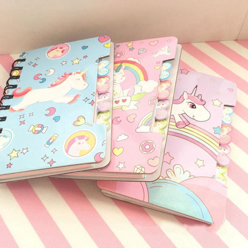 1pc Cute Cartoon Unicorn Hard Cover Coil Notebook Kawaii Planner