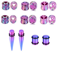3Pair Acrylic Ear Plug Stretching Tunnel Plugs Double Flare Hollow Gauges Piercing Mix Kit Body Jewelry