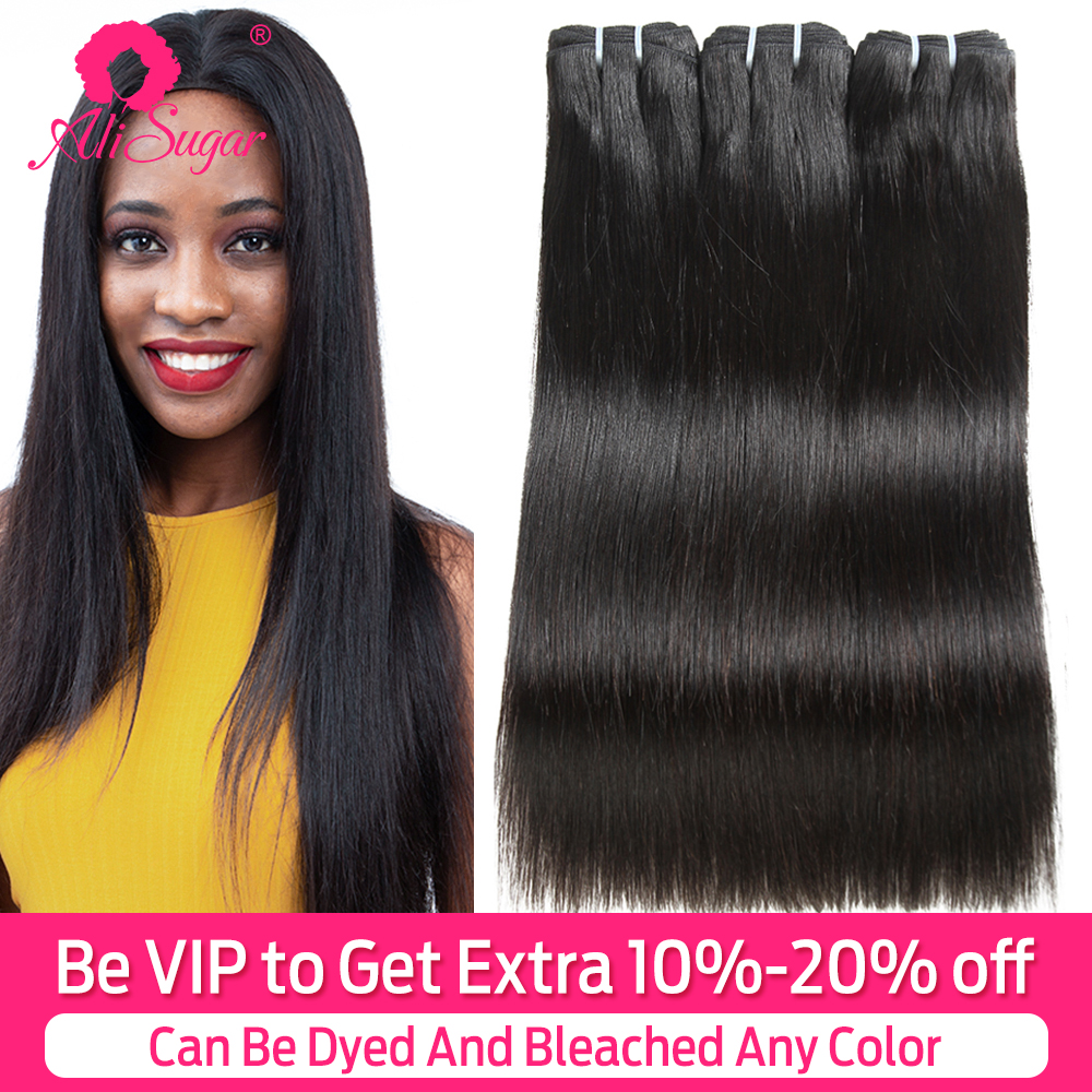 Ali Sugar Virgin Hair Weave Peruvian Straight 3 Bundles Deals 10-28 Inches Middle Ratio Raw Human Hair Extensions