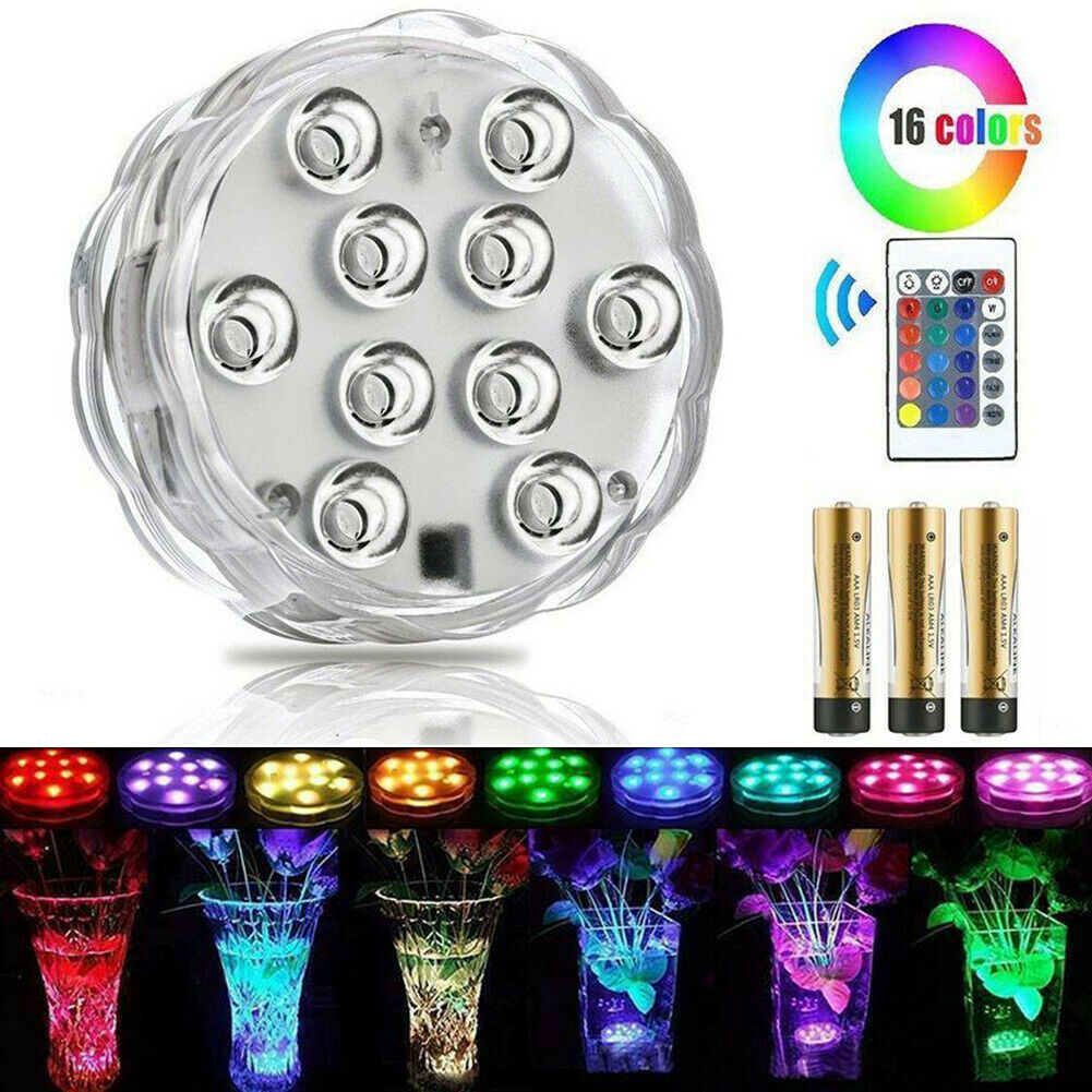 10LED RGB Submersible Swimming Pool SPA Led Lamp IR Remote Pond Lights Party