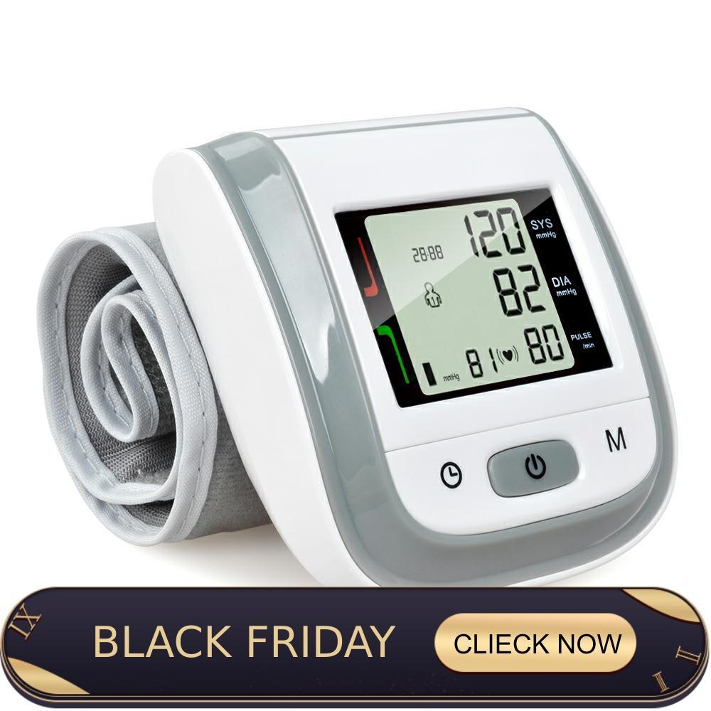 ELERA Digital Wrist Blood Pressure Monitor Portable LCD Display Tonometer Measuring Bp Heart Beat Meter Sphygmomanometer
