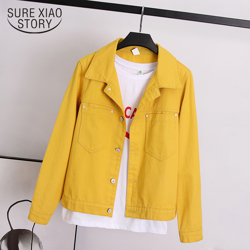 2019 New Autumn Denim Yellow Jacket Women Loose Jeans Jacket And Coat Fashion Overcoat Long Sleeve Jacket Ladies Tops  7121 50
