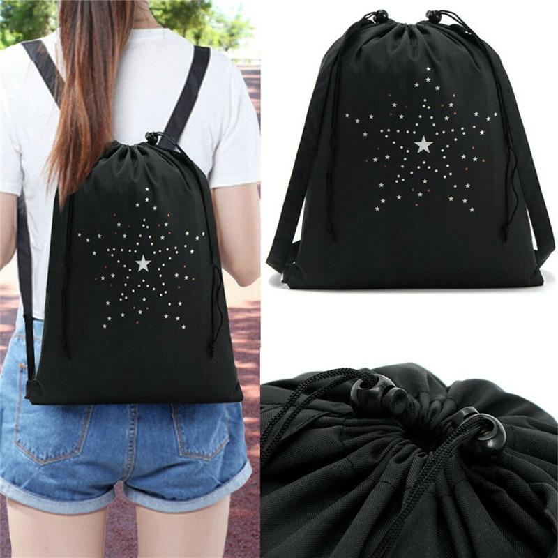 NoEnName-Null Women Canvas Drawstring Bag String Backpack Gym Men Women Backpack Drawstring Bags