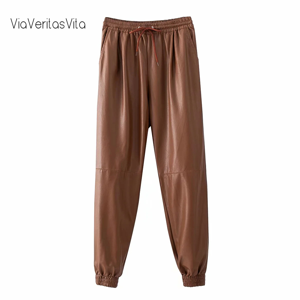 Faux Leather Womens Loose PU Pants Trousers High Waist Drawstring Brown Leather Sweatpants Zoravicky Black PU Pants Joggers 2020