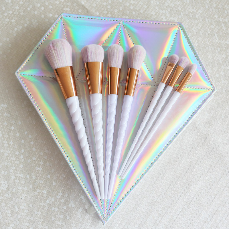 10 <font><b>makeup</b></font> <font><b>brush</b></font> set unicorn <font><b>mermaid</b></font> <font><b>makeup</b></font> set zipper diamond <font><b>bag</b></font> <font><b>with</b></font> helical plating handle image