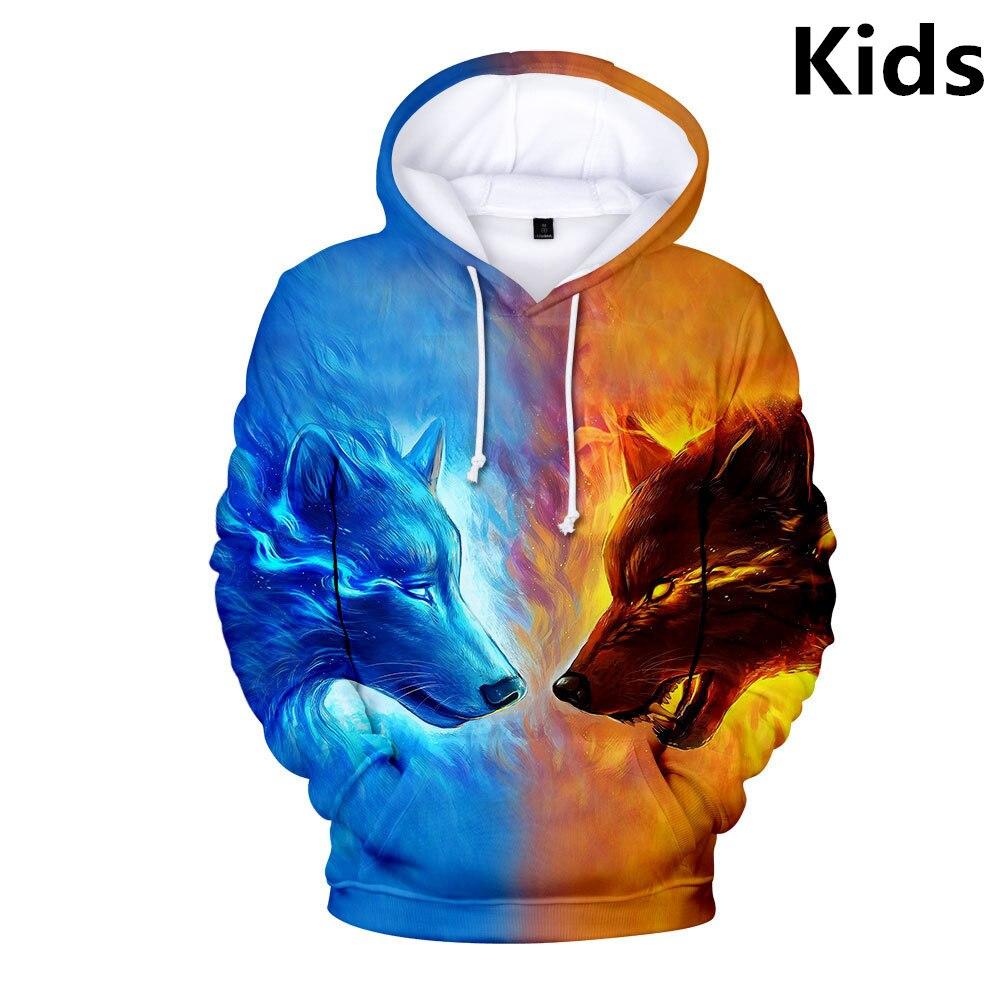 Personality Hoodie Wolf 3D Mens Boys Hoodies Sweatshirt Brand Designer Children Clothing Autumn Winter High Quality Sweatshirt