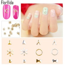 FlorVida 50pcs/bag Gold Silver Nail Art Alloy Decoration Moon Star Snowflake Bow Tie Design 3D Metal